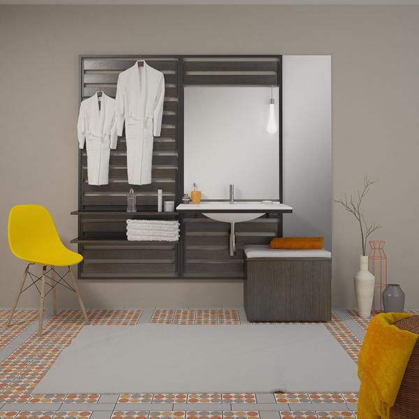 Modulares Badezimmer, die Elemente sind an Sprossenwandartigen Raumteilern aufgehängt.