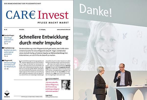 Titelseite von CareInvest 18.19 und ein Foto von Veronika Egger auf der Bühne mit dem Moderator des 8. Tags der Wohnungswirtschaft, Michael Schlenke.