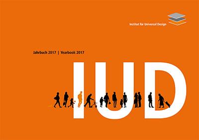 Titelseite des IUD-Jahrbuchs. Orangefarbener Hintergrund, die Buchstaben IUD groß in weiß, schwarze Silhouetten von Menschen.