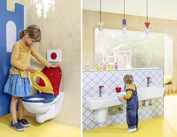 Waschtisch und WC in unterschiedlichen Größen udn Höhen, auch eineinziger WC-Deckel kann drei verschiedene Größen haben. Die Gößen sind in jeweils andere Farben ausgeführt.