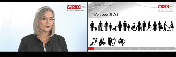 Es sind zwei Bildschirme nebeneinander sichtbar. Links Veronika Egger, rechts eine der zugehörogen Folien ihres Vortrags.