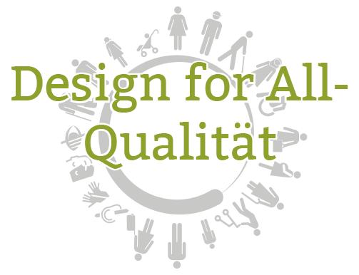 Logo der Design for All-Award: Piktogrammkreis mit unterschiedlichen Menschen als Hintergrund, darüber ist der Text zu sehen: Design for All-Qualität