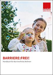 Titelbild Handbuch Barriere-Frei!. Junge Frau mit Kind am Schoß. das kleine Mädchen spielt mit Seifenblasen.