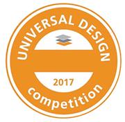 Logo der Universal Design Competition 2017, orangefarbener Kreis mit horizontalem Querbalken