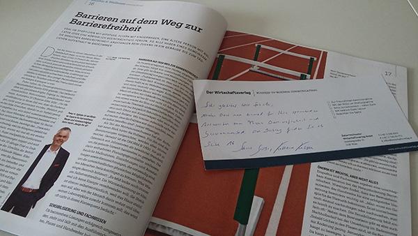 Die Zeitschrift Gebäudeinstallation ist auf der Seite mit dem Artikel aufgeschlagen.