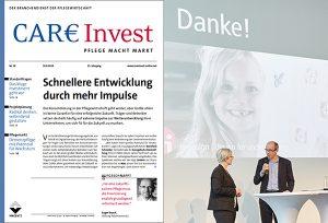 Titelblatt Zeitschrift CareInvest und Bild vom Vortrag von Veronika Egger