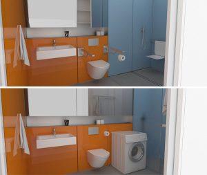 Bad in Modulbauweise in zwei Versionen: einmal mit normalem WC und Waschmaschine, einmal mit offenem Duschbereich und ergänzten Haltegriffen. Die seriell vorgefertigten Elemente können nahtlos und ohne bauliche Eingriffe aneinandergereiht werden.