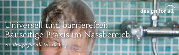 Titlebild Workshop Bad, Nahaufnahme eines Buben unter der Dusche, der die Augen zusammenkneift weil ihm Wasser über den Kopf rinnt.